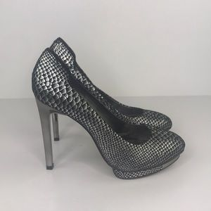 BCBGMaxAzria Gunmetal Willoe Serpent Pumps 8.5